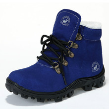 Big Kids Snow Boots for 2017 Winter Genuine Leather Boots for Boys Ankle High Fur Warm Boots Top Quality Kids Brown Boots 31-36