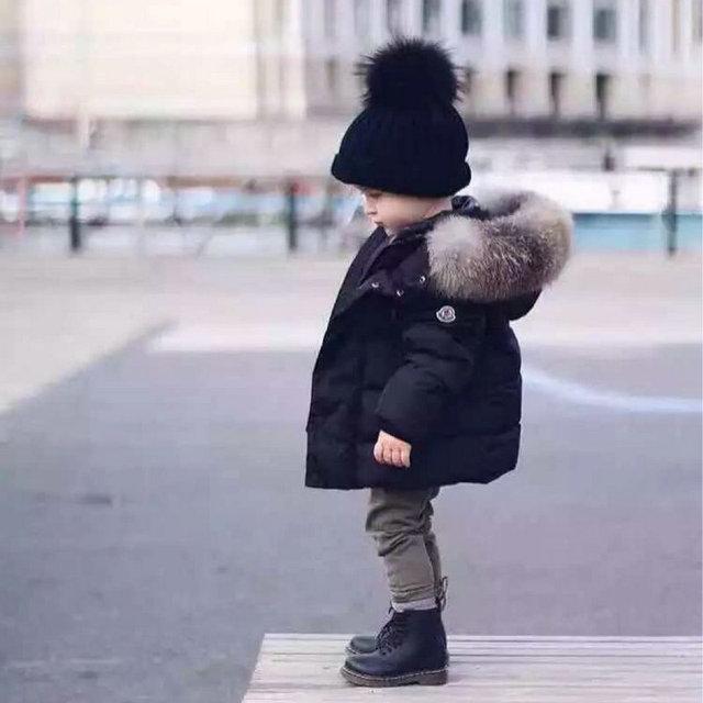 Parkas de moda Da Menina do menino Roupas de Inverno 2016 Crianças Outerwear Casacos Bebés meninos Meninas Gola de Pele de Algodão-acolchoado Jaqueta de Idade 3-12 T