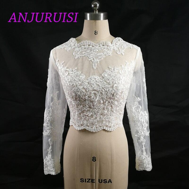 ANJURUISI Elegant Appliques Shares Of Women's Long Sleeve White Lace Shoulders Cropped Bolero Wedding Jacket 2019 Bridal Wraps