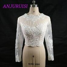 ANJURUISI אלגנטי אפליקציות מניות של נשים של ארוך שרוול לבן תחרה הכתפיים קצוץ חתונת 2019 כלה כורכת
