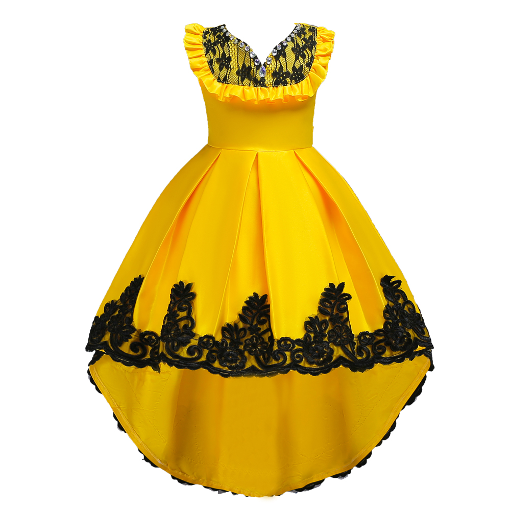 Blue Red Purple Children Party Flower Girl Dresses Kids Halloween Beauty Beast Cosplay Costume Girls Wedding Dress Yellow