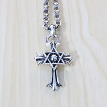 925 Sterling Silver Hexagram Pendant Male Retro Fashion Fashion Cross Bracelet Sweater Chain Clavicle
