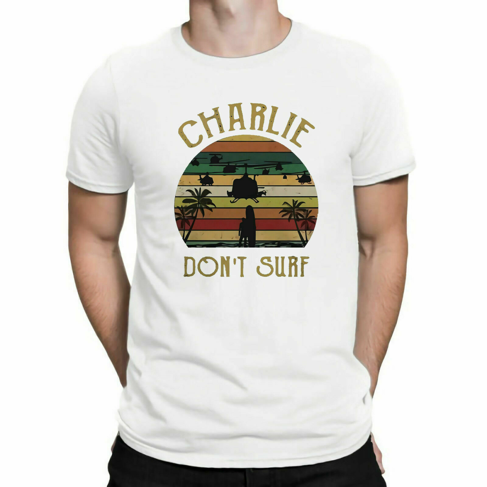Charlie Dont Surf Vintage Apocalypse Now Film Movie 1980s TShirt Cotton Tee image