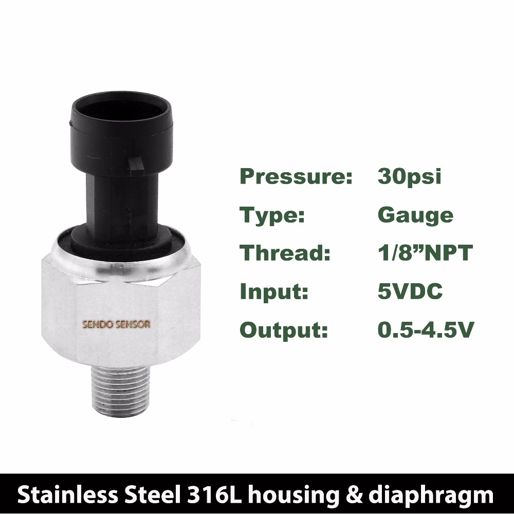 DC 5 V pressure sensor 0 30 psi gauge pressure, 0.5 4.5 V output, gas, oil, water silicon, full stainless steel 316L, 1 8 NPT цены