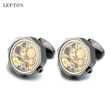 Low-key Luxury Gold Watch Movement Cufflinks With Glass Lepton Stainless Steel Steampunk Gear Watch Mechanism Cufflinks for Mens