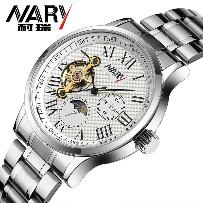 ФОТО New Luxury Automatic Self-Wind Clock Multifunction Mechanical Men Watch Tourbillon Moon Phase Men Wristwatches Boutique montre