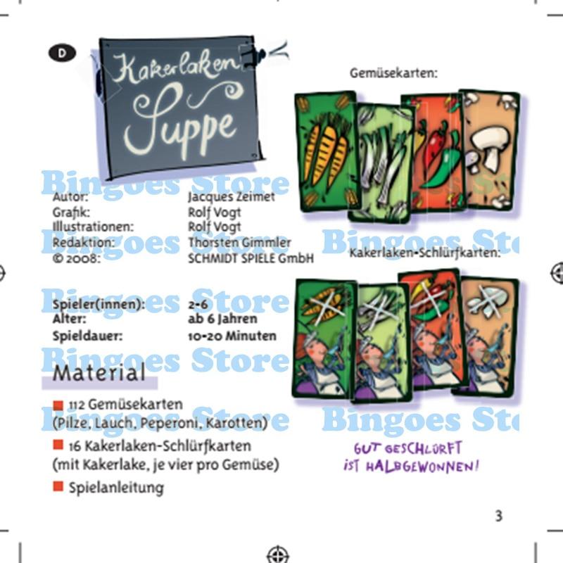 Inglês cards kakerlaken ceiasalada jogos de tabuleiro para 2 6 pessoas