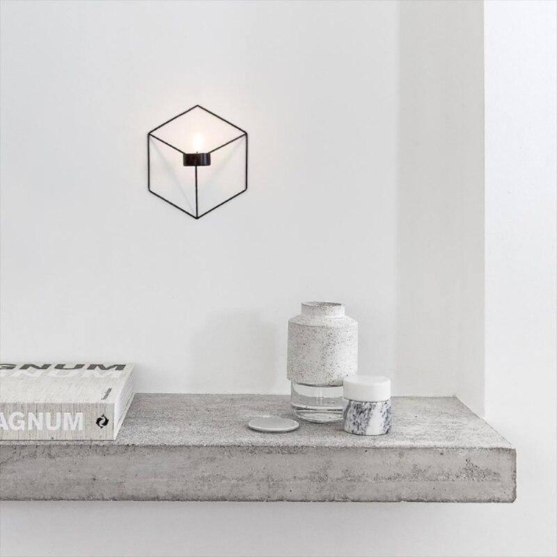 21 см подсвечники Nordic Стиль 3D геометрический Подсвечник металл настенный подсвечник бра соответствия небольшой Tealight украшения дома