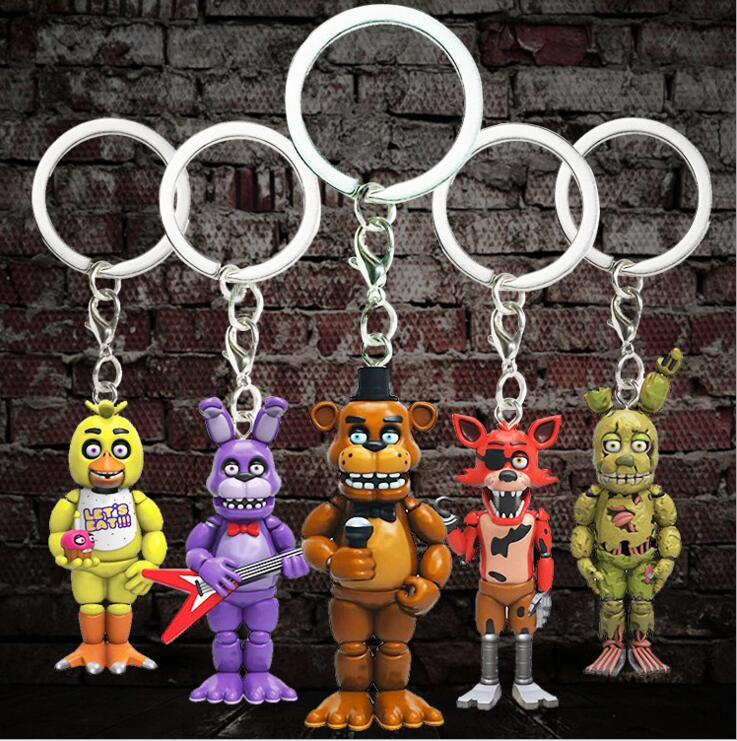 5PCS/Lot Fnaf Keychain Game Five Nights At Freddy Keychain Figures Toys Set Bonnie Foxy Plastic Bear Fazbear FNAF Key Chain Ring