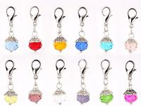 60 120 PCS Lot Mixed 12Colors Crystal Birthday Stones Beads Birthstone Floating Dangle Pendant Charms