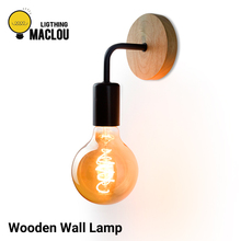Nordic Wooden Wall Lamp E27 Industrial Decor Bedside Sconce Lamp Vintage Retro Wall Light Fixture Bedroom Lamp Indoor Lighting стоимость