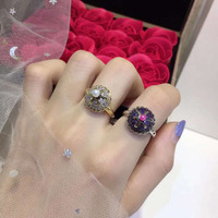 New Pure 925 Sterling Silver Fashion zircon Cake ring Party Jewelry Luxurious White Gold Ring For Women