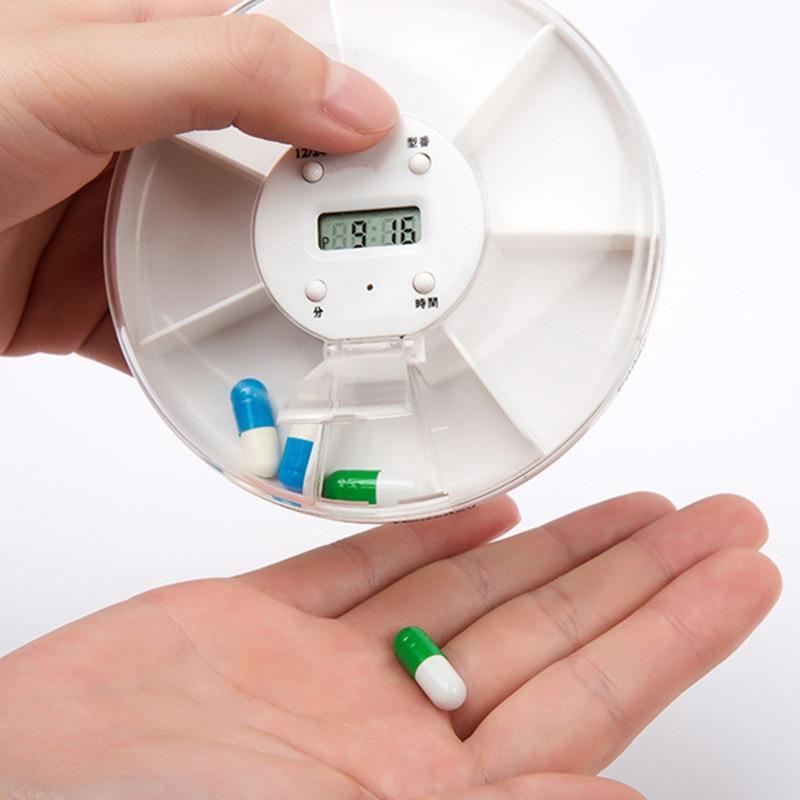 Новый Интеллектуальный лекарства напоминания 7 слотов круглый электронный сроки Медицина box Портативный пожилых прозрачный таблетки для х...