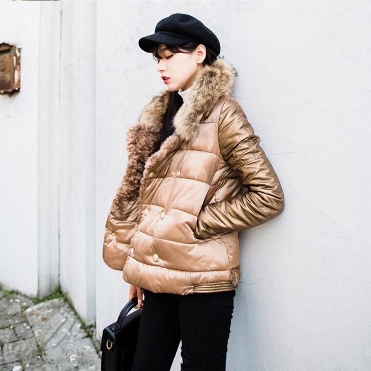 Manches Femme Fourrure Col Mince Hiver Coton Et Vestes Décontracté Solide Court Manteaux Épais De Doudoune Poches Plein Camel qVzMUpS