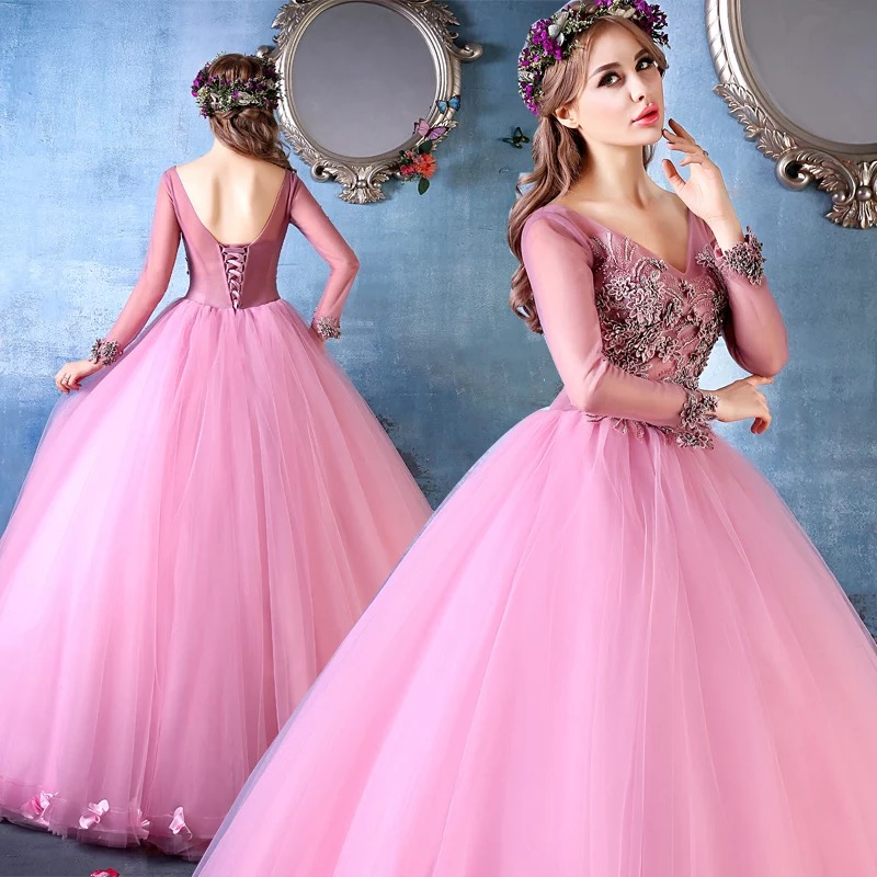 IBayU Luxury Embroidery Flower Applique Formal Ball Gowns Vestidos ...
