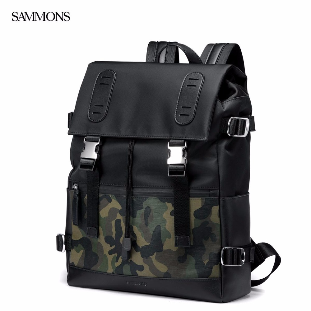 New SAMMONS Brand Design Fashion Casual Camouflage Nylon With Cow Leather Men Backpacks School Bag Shoulders Bags For Travel foru design 600d fashion backpack brand design school book bag polyester bag men computer packsack swiss outsports backpacks