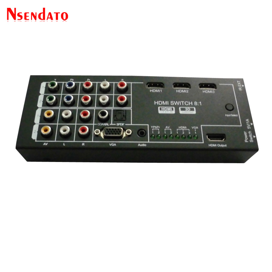 8 In 1 1080P Audio Video HDMI Switch Switcher Converter Extractor Support Coaxial Spdif VGA AV