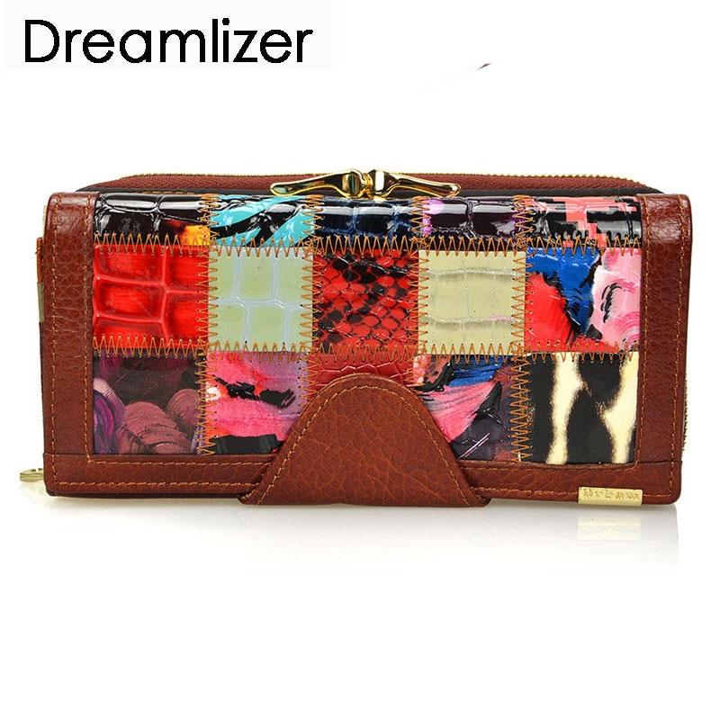 Dreamlizer 3 Fold Мода Натуральна Шкіра Жіночі Гаманці Печворк Хасп Монета Кишеньковий Жіноча Клатч Жіноча Гаманець Гаманець  t