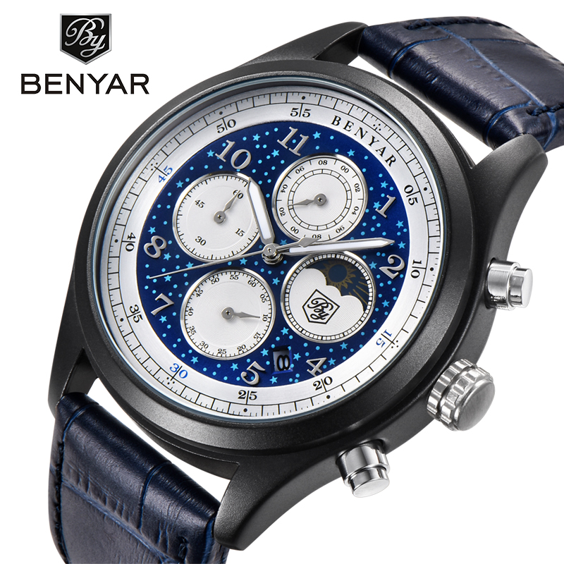 BENYAR Top Brand Mens Watches Chronograph Luxury Waterproof Quartz Watch Men Business Moon Phase Calendar relogio masculino benyar moon phase chronograph watch men
