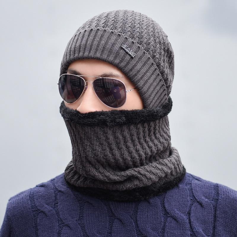 Warm winter Hat Men Women Knitted Hat Scarf   Skullies     Beanies   Winter   Beanies   For Men Caps Mask Balaclava Bonnet Cap Hats 2018