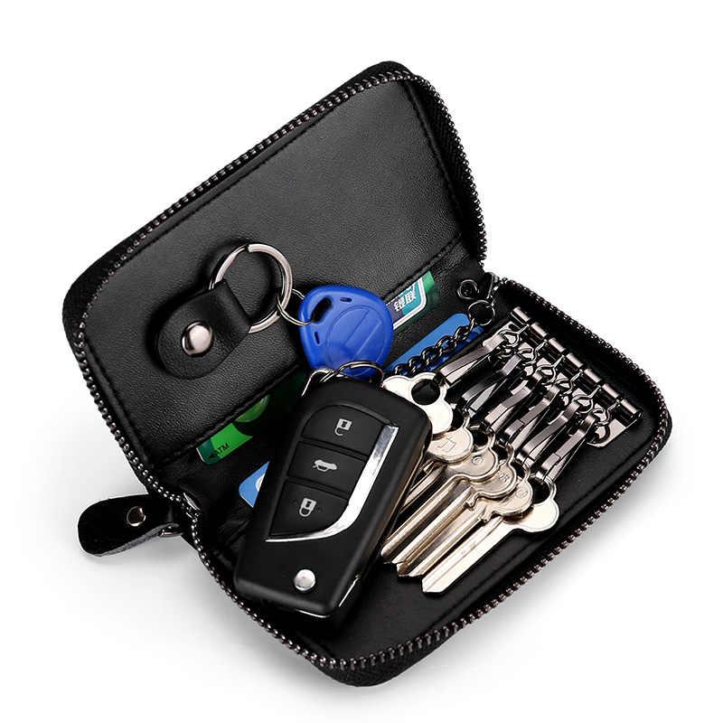 Brelok z prawdziwej skóry Unisex futerał na klucze wielofunkcyjny Organizer portfel etui inteligentny gospodyni mały samochód etui na klucze etui na klucze