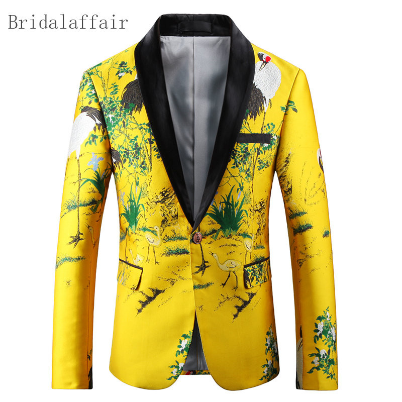 2018 Gelb Slim Fit Mens Blumen Blazer Männer Jacke Herren Bühne Verschleißverhalten Männer Anzug Mantel Gedruckt Blazer Masculino Casual Weich Und Leicht