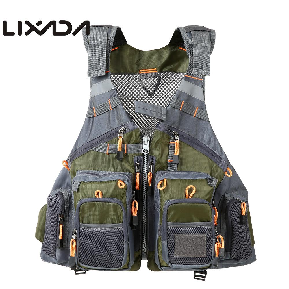 Lixada Unpadded Outdoor Fishing Vest Pack Quick Dry Multi Pocket Breathable Mesh Fishing Vest Waistcoat Jacket