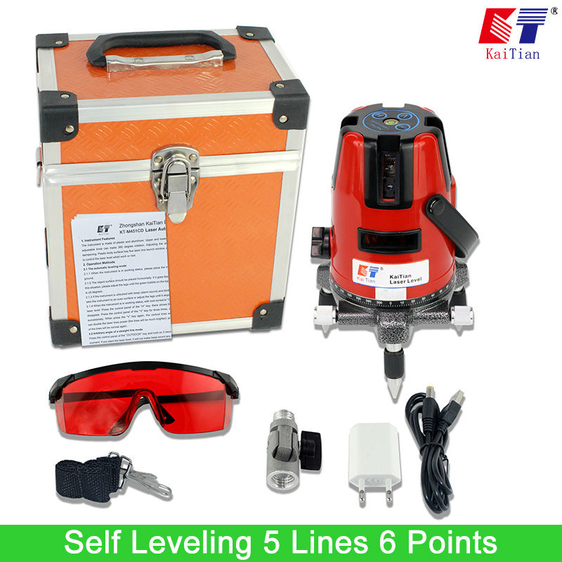 Kaitian Laser Level with 360 Rotary Tilt Function and Outdoor EU 635nM Vertical & Horizontal Lasers 5 Lines 6 Points Lazer Level