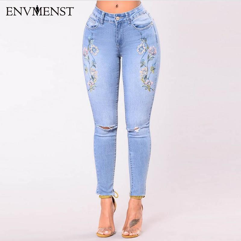 Women Slim Embroidery Jeans Skinny Jeans Woman Light Blue Hole Denim Pencil Pants Stretch High Waist Women Jeans Pants