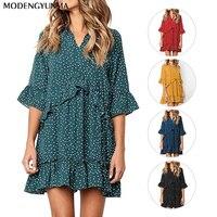 Summer Casual Dress Polka Dot Boho Beach Dress Vintage Ruffles Short Sleeve A-Line Party Mini Dress Sundress Vestidos Plus Size