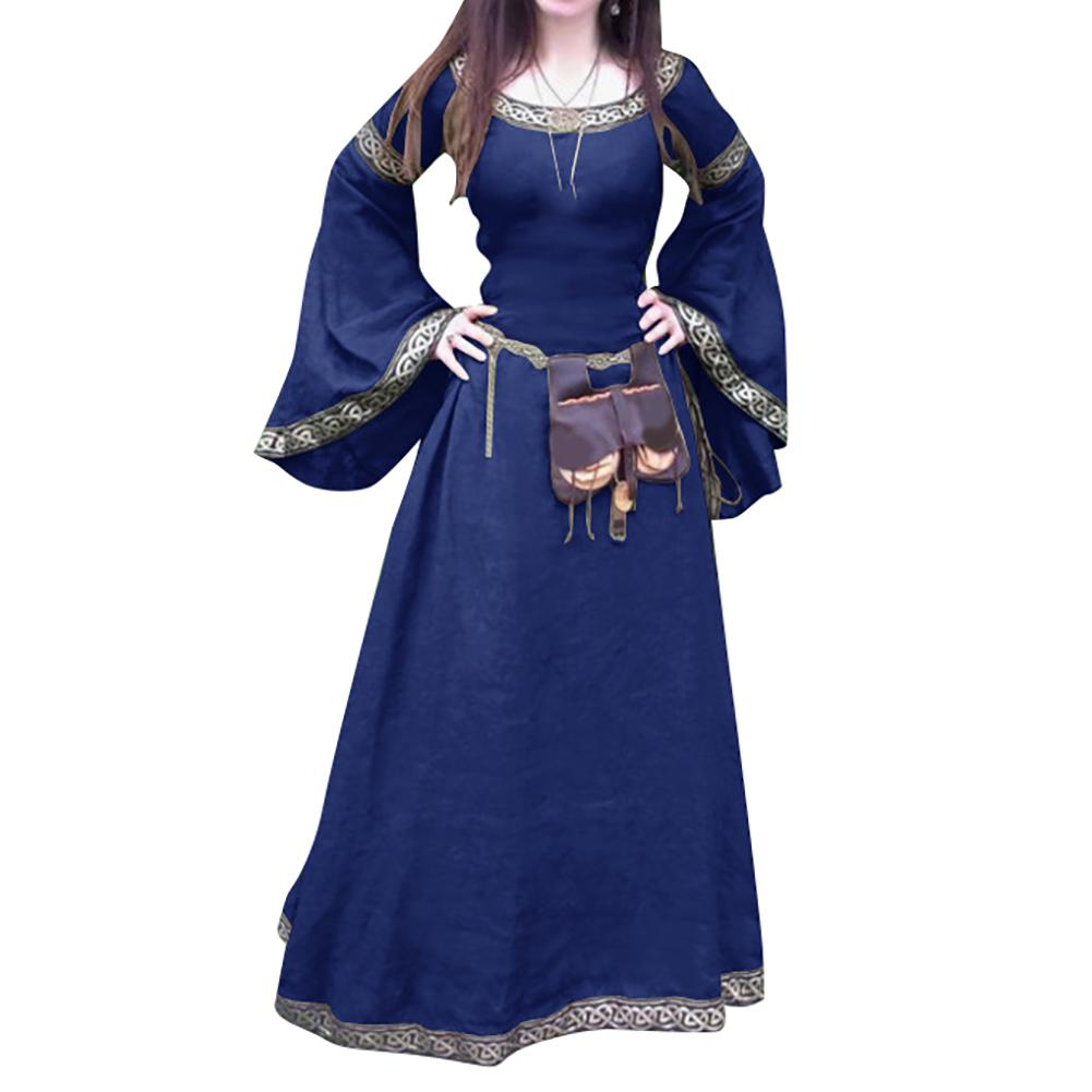 Hot Retro Women Medieval Full Length Long Sleeve Round Neck Slim Party Cosplay Dress