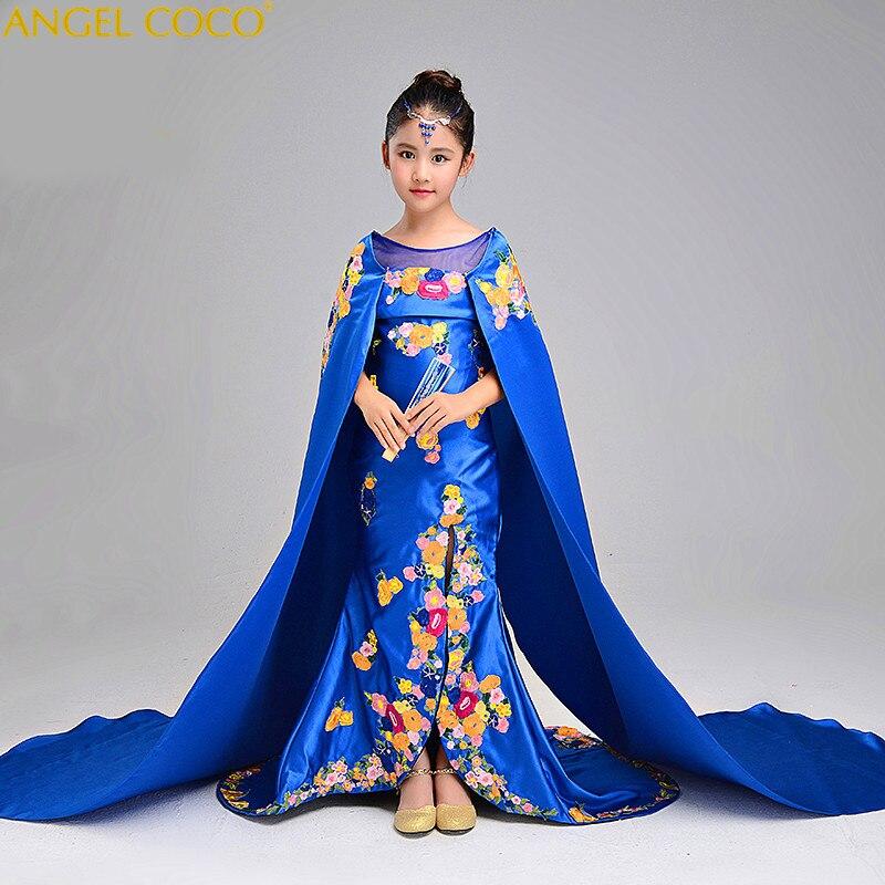 Для девочек подиума платье вышивка китайский Cheongsam хвостохранилища детская шаль председательствовал производительность Русалка Вечерние