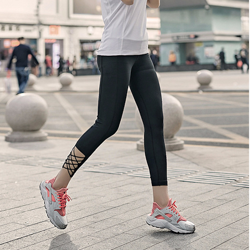 EF High Waist Fitness Leggings Women Yoga Pants Fitness Leggings Running Sportswear Bottom Cross Straps HollowOut Sports Pants