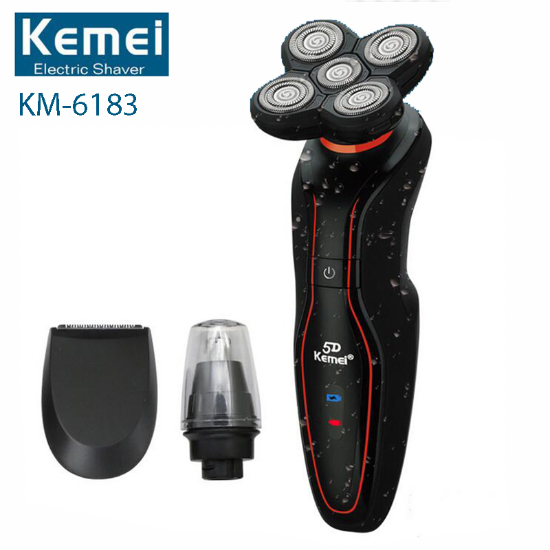 5D Floating Rotary Rechargeable Men's Electric Shaver Hair Shaving Machine Razors with Beard Nose Trimmer Face Care KM-6183 men s rechargeable electric shaver 3d floating blades rotary electronic shaving machine for man quick charge hair trimmer care