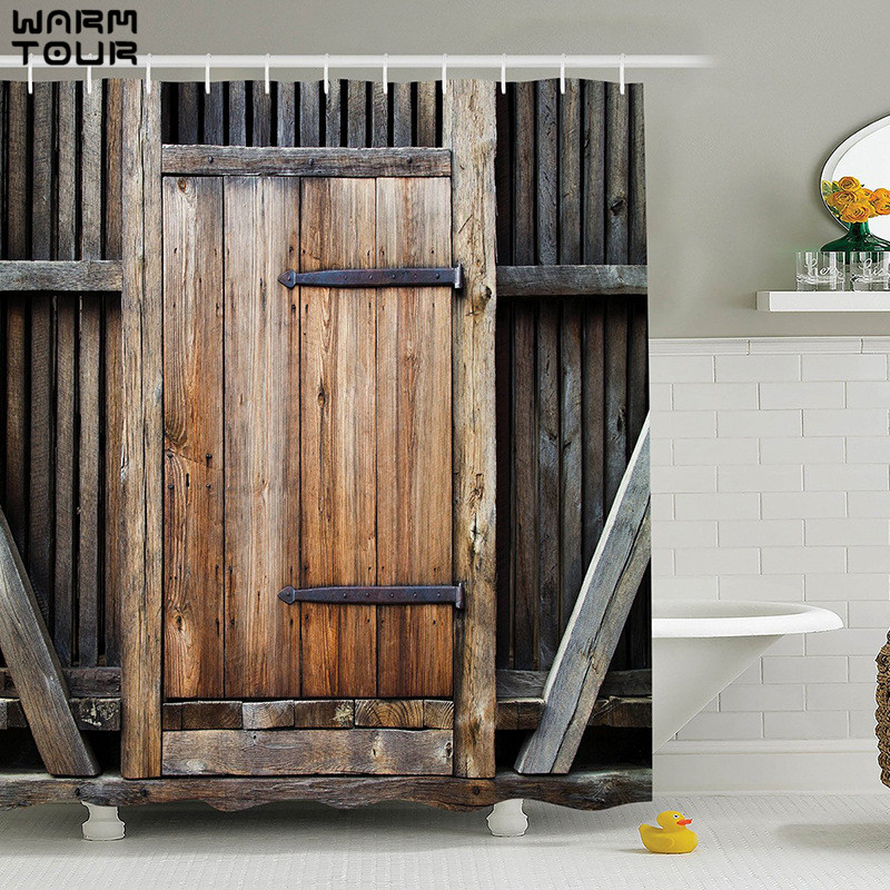 WARM TOUR Shower Curtain Old Bronze Wooden Garage Door Vintage Rustic  Shower Curtain American Country Style