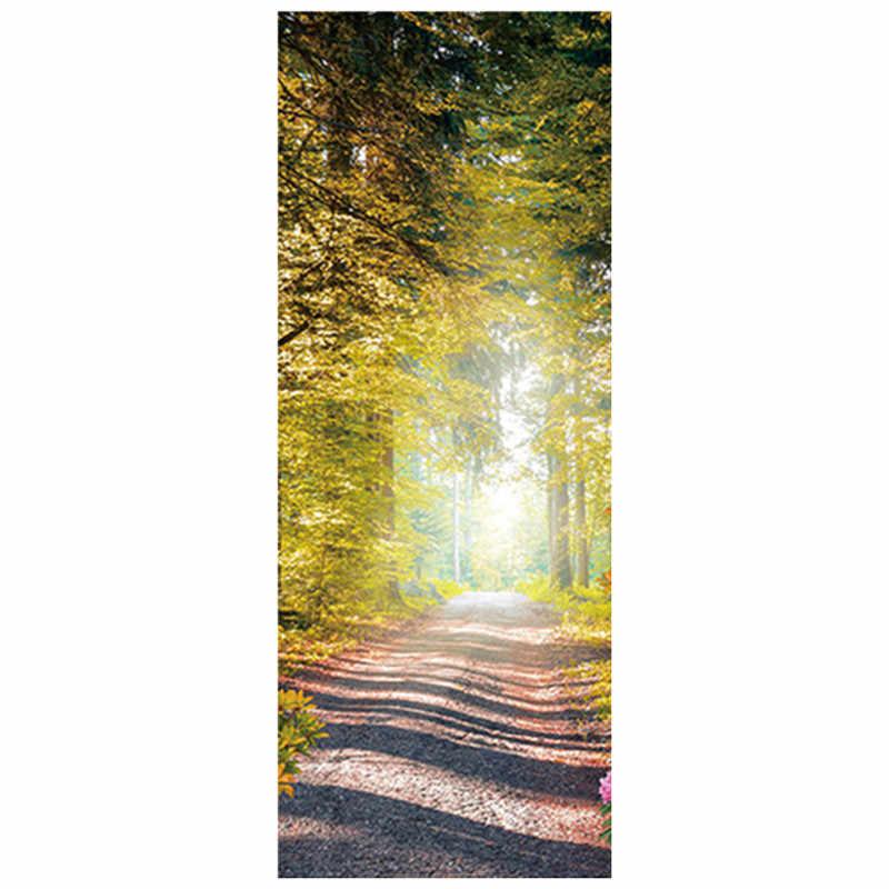 77*200 см Летающий Голубь двери наклейки бамбуковый лес камень кирпичная тропа 3d стены Искусство Винил плакат, Декор для дома пейзажи обои