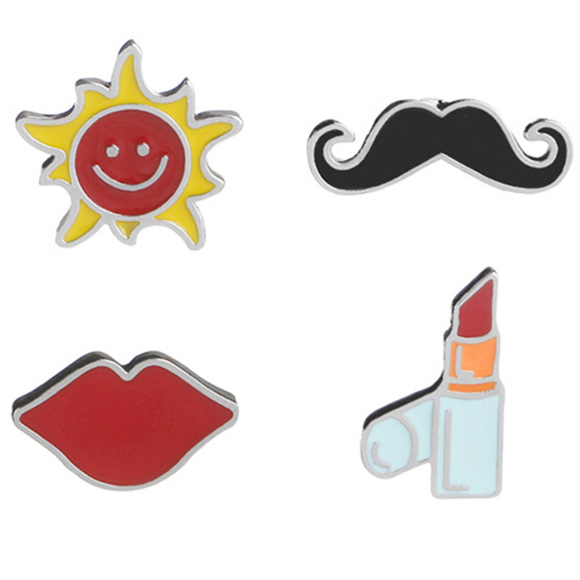 1PC Acrylic Jewelry Lipstick Beard Sun Red Lips Brooches