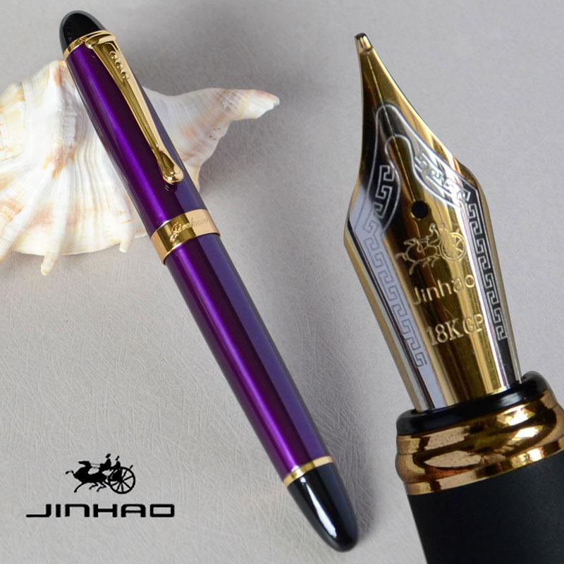 Авторучка 18KGP 0,7 мм перо с широким основанием JINHAO X450 фиолетовый роскошный бизнес офис черный золотой розовый 21 Цвета для COHICE JINHAO 450 broad nib jinhao x450pen fountain pen   АлиЭкспресс