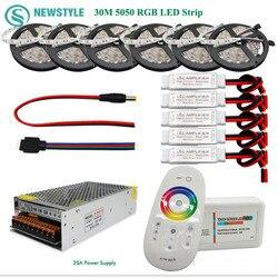 5050 RGBW/RGBWW Led قطاع مجموعة 60 leds/م مقاوم للماء IP65 الشريط مصباح ليد  اللمس تحكم عن بعد 12 فولت محول الطاقة مكبر للصوت