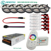 5050 RGBW/RGBWW Led Strip Set 60leds/m Waterproof IP65 tape Led Light + Touch Remote Controller + 12V Power Adapter + Amplifier