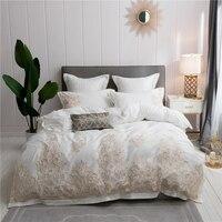 Белый синий роскошный Египетский хлопок постельное белье комплект Королева Король Размер постельное белье золотая вышивка пододеяльник к