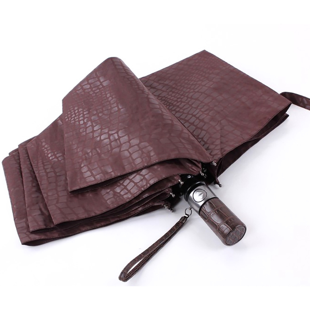JESSE KAMM New Gentle Men Three Folding Compact Fully Automatic Large Imitation leather High Quality Winfproof Strong Umbrellas