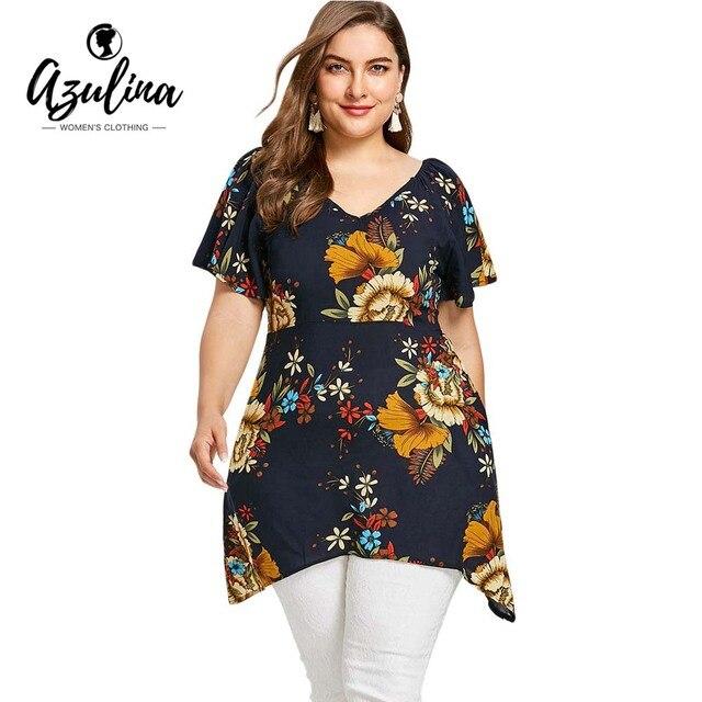 e93d7995878 AZULINA Plus Size Flower Printed V Neck T-Shirt Summer Tops Short Butterfly  Sleeve Asymmetrical