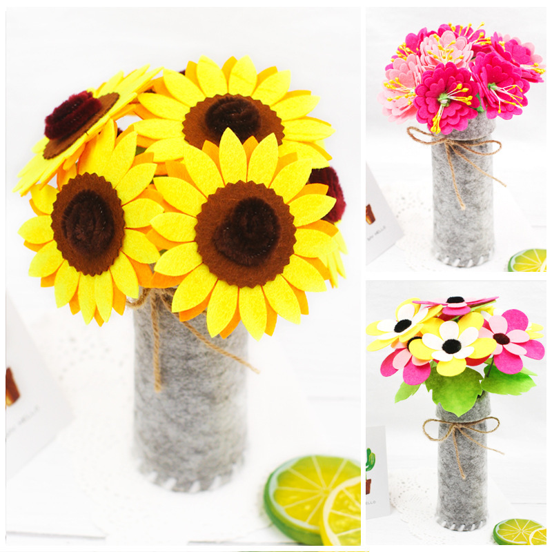 Child Toy Crafts Kids Non-woven DIY Simulation Bouquet Kindergarten Early Learning Education Toys Montessori Teaching Aids