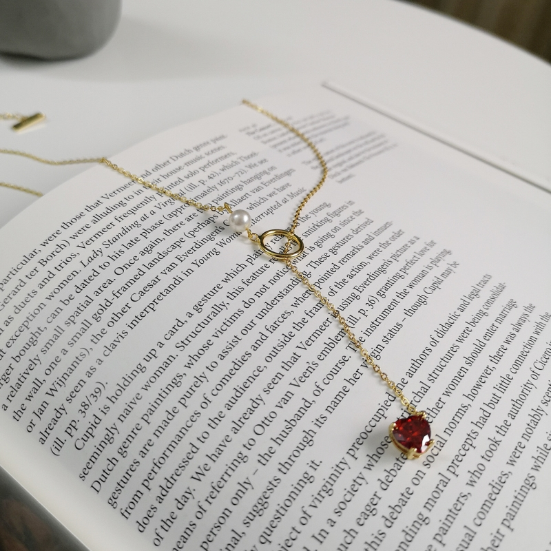 Image 5 - 925 Sterling Silver 18k Gold Necklace for Women With Pearl Y Drop Necklace Heart Drop Pendant Red Ruby CZ Zircon Lariat Necklace-in Necklaces from Jewelry & Accessories