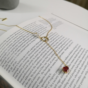 Image 5 - 925 Sterling Silver 18k Gold Necklace for Women With Pearl Y Drop Necklace Heart Drop Pendant Red Ruby CZ Zircon Lariat Necklace