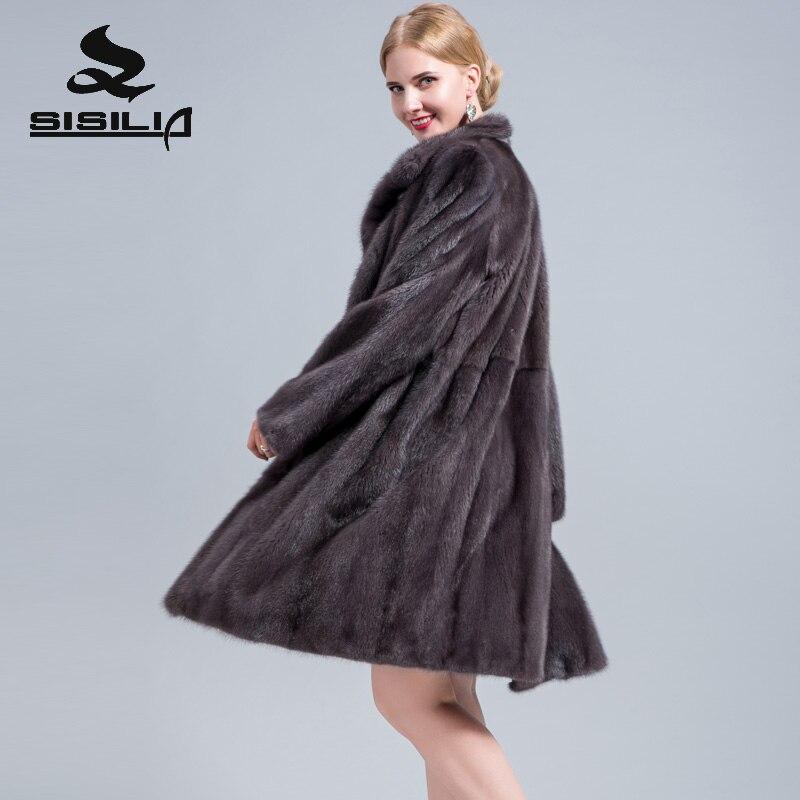 SISILIA 2018 nouvelles dames daim véritable manteau de fourrure de haute qualité Moyen daim manteau femme manteau de fourrure de luxe