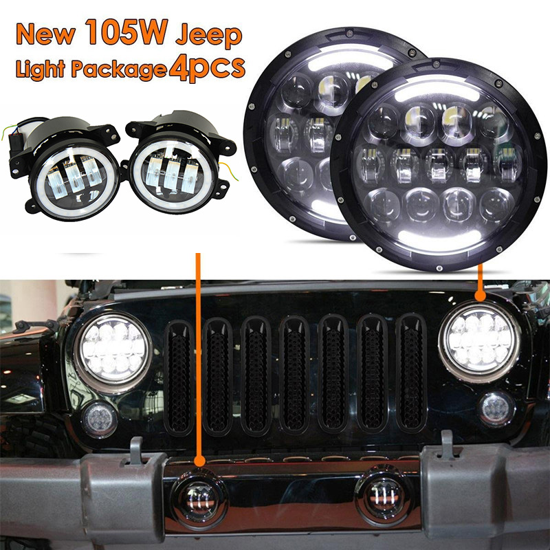 7'' led headlight Round 7inch 105W LED Headlamp DRL Amber turn signal lights for Jeep Wrangler JK Hummer with 4 inch fog light black chrome 2pcs 7inch round 105w led headlight drl turn signal for jeep wrangler hummer 4x4 4wd suv driving headlamp