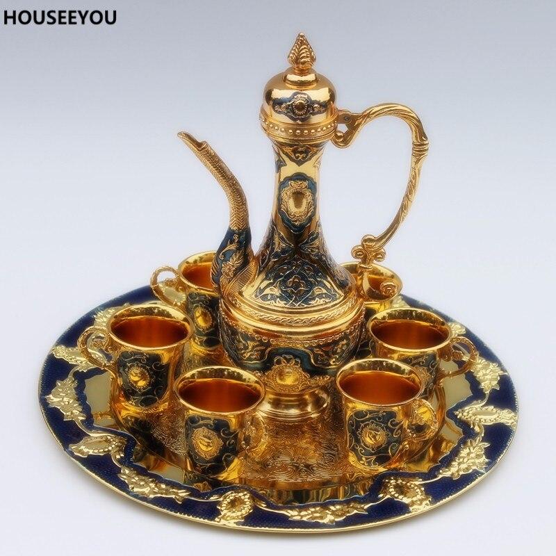 Fashion Zinc Alloy Tea Sets Gold & Blue Color Metal Sherbet Tea Set Drinkware High Quality Home Drinking Accessories Supplies