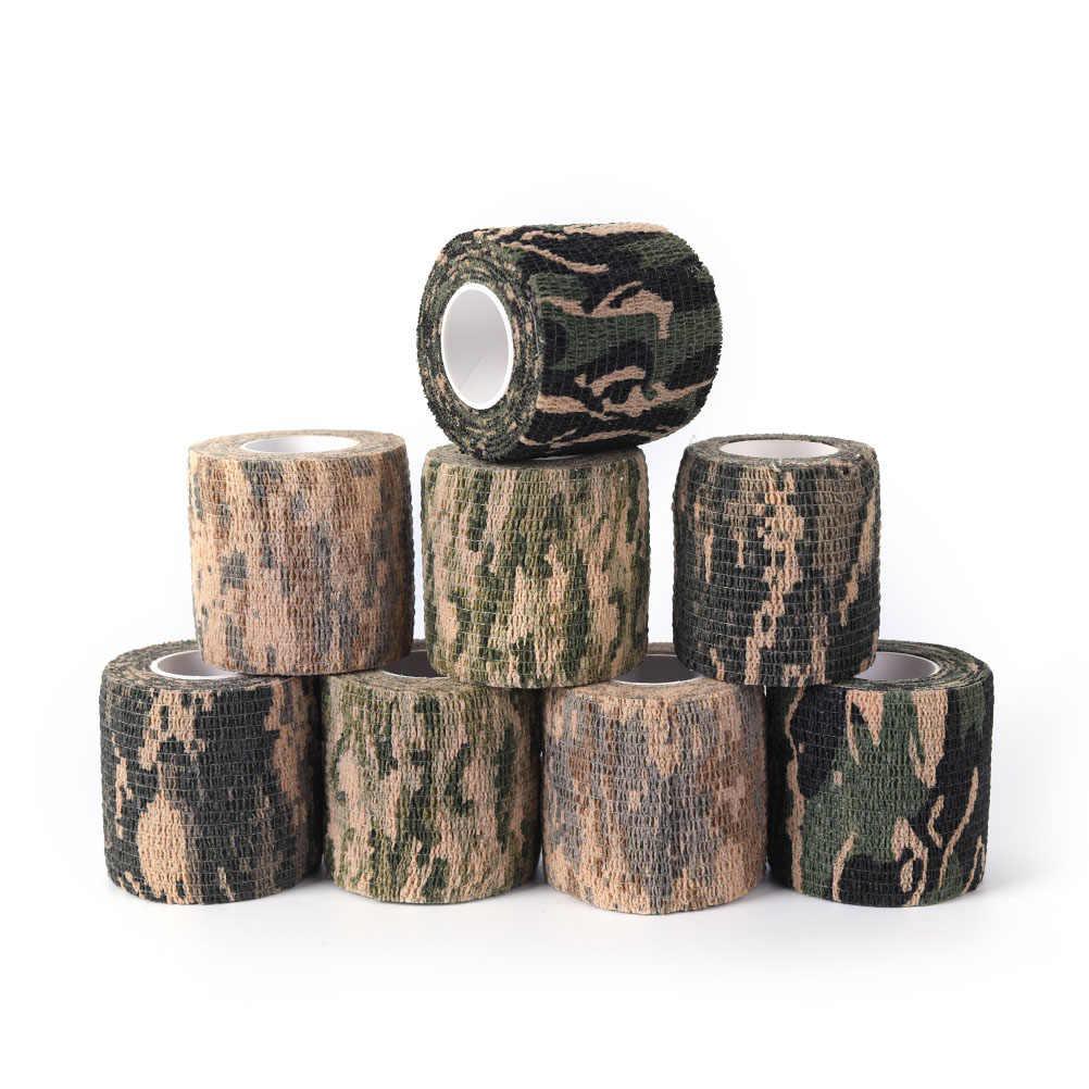 2 pces rolo camuflagem envoltório bandagem 4.5m militar estiramento médico bandagem camuflagem fita auto-adesivo arma decoração